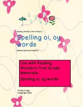 Reading Wonders Unit 5 Week 5 First Grade Adapted Spelling