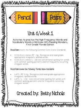 Reading Wonders Unit 6 Week 1 Pencil Pairs ***WITH BONUS P