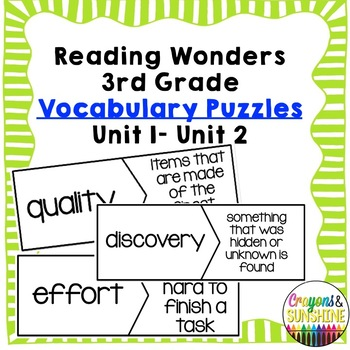 Reading Wonders Vocabulary Puzzles Units 1- Units 2
