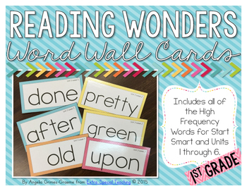 Reading Wonders Word Wall Cards for 1st Grade