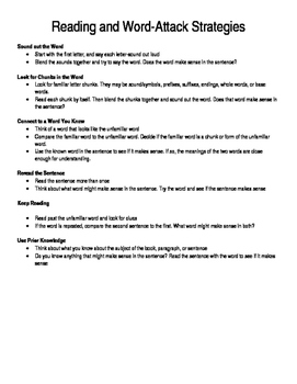 Reading & Word Attack Strategy Handout