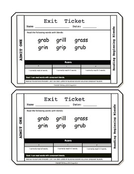 Reading Words with Beginning Blends Exit Tickets