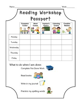 Reading Workshop Passport for Guided Reading Centers