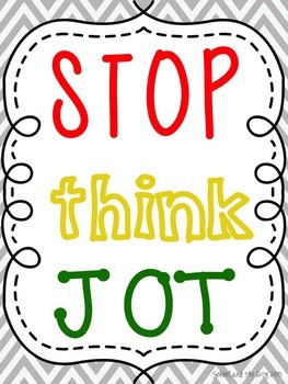 Reading Workshop Signs: Stop, Think, Jot & Listen, Think, Ask