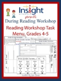 Reading Workshop Task Menu & Recording Sheets-Grades 4 & 5
