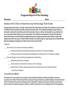 Reading Workshop Units of Study Progress Report Readers Ge