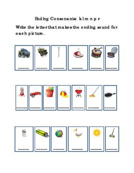 Reading Write Ending Consonants Letters K L M N P R Emerge