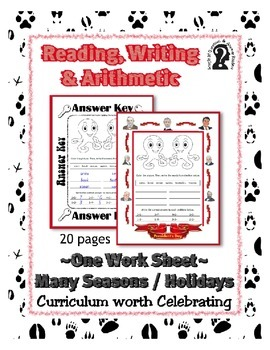 Reading, Writing & Arithmetic ~ Octopus ~ One Work Sheet ~
