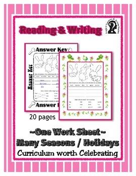 Reading & Writing ~ Rabbits ~ One Work Sheet ~ Many Season