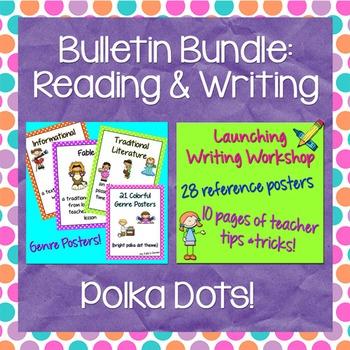 Reading & Writing Bulletin Bundle: Polka Dots