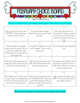 Reading Writing Choice Boards for February