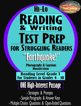 "Reading & Writing Test Prep:  1 Hi-Lo Text    ""Earthquake!"""