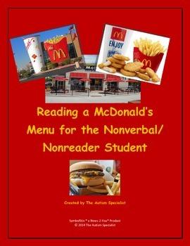 Reading a McDonald's Menu for the Nonverbal/Nonreader Stud