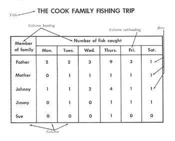 Reading a Table / Graphic Aid: The Cook Family Fishing Tri