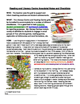 Excellent Reading and Literacy Centre Notes and Checklists