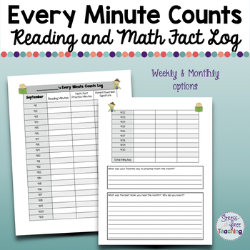 Reading and Math Log: Every Minute Counts