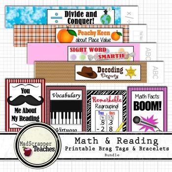 Reading and Math Teacher Basic Skills Brag Tags and Printa
