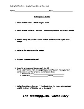 """Reading and Vocabulary Activities for """"In a Dark, Dark Room"""""""