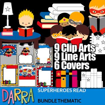 Reading clipart: Superheroes read book clip art bundle