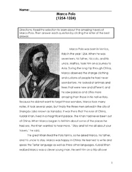 Reading in Social Studies MARCO POLO w/ 20 Multiple Choice