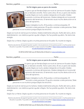 Reading in Spanish: A rescue dog dies during Ecuador earth