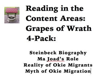 Reading in the Content Areas:  Grapes of Wrath 4-Pack