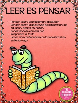 Reading is Thinking Freebie in Spanish