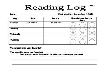 Reading log week 2