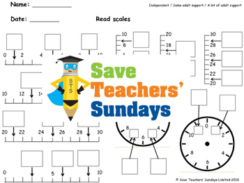 Reading scales worksheets (3 levels of difficulty)