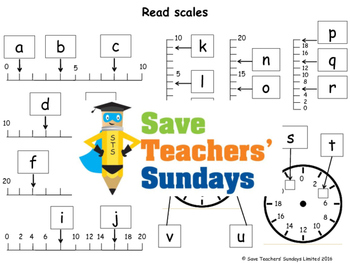 Reading scales worksheets (4 levels of difficulty)