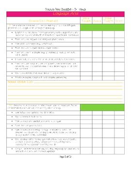 Reading/Language Arts Common Core Checklist Grade 3