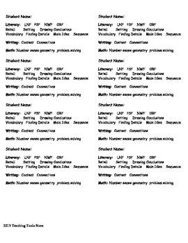 Reading/Math Benchmark Cards