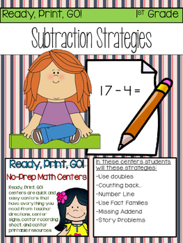 Ready, Print, GO! Math Centers Subtraction Strategies to 2