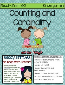 Ready, Print, GO! No-Prep Math Centers: Counting and Cardinality