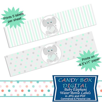 Ready-To-Print Mint Green Baby Elephant Water Bottle Label