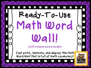 Ready To Use Math Vocabulary Word Wall Display w/Black Frame!