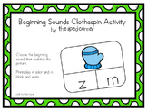 Clip and Go! Beginning Sounds PreK K Centers; Autism Speci