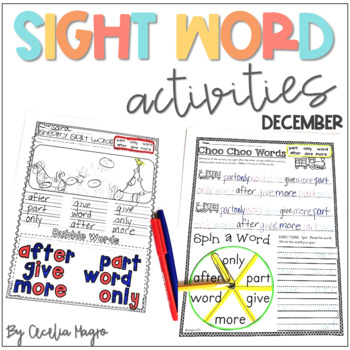Ready to Work on Words - December Word Work 1st Grade
