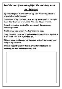 Ready to use ESL Worksheet  - How to write a description o