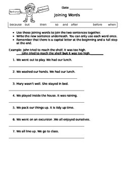 Ready to use ESL worksheet-Joining Words