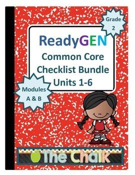 ReadyGEN Second Grade Common Core Checklist Bundle Units 1-6