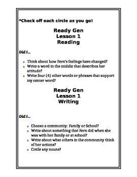 ReadyGEN Checklists Unit 1 Module A- Student Self Assess