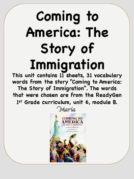 ReadyGen Coming to America Vocabulary 1st Grade Unit 6 Module B