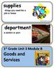 ReadyGen Goods and Services Vocabulary 1st Grade Unit 3 Module B
