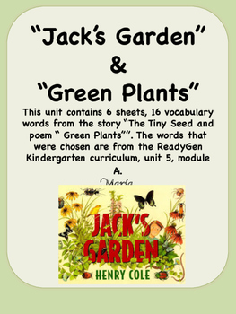 ReadyGen Jack's Garden Vocabulary Kindergarten Unit 5 Module A
