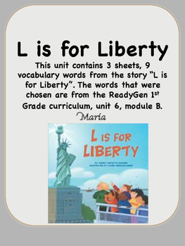 ReadyGen L is for Liberty Vocabulary 1st Grade Unit 6 Module B