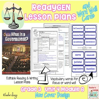 ReadyGen Lesson Plans Unit 4 Module B  -Word Wall Cards- E