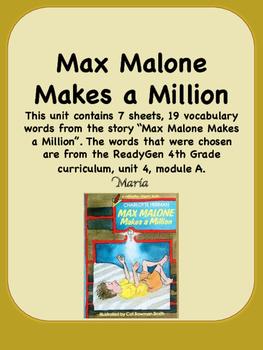 ReadyGen Max Malone Makes a Million Vocabulary 4th Grade U