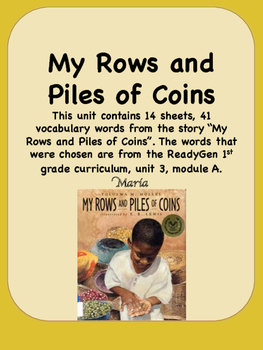 ReadyGen My Rows and Piles of Coins Vocabulary 1st grade U