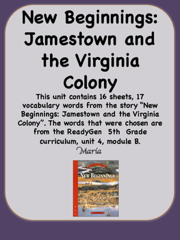 ReadyGen New Beginnings: Jamestown and the Virginia Colony